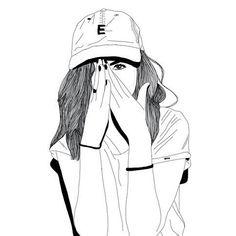 art, outline, fille noir et blanc, fille tumblr, casquette, stylé, vernis noir