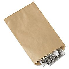 """5 x 7 1/2"""" Kraft Merchandise Bags. Uline.com $23 for 1,000. Could be stamped with a custom logo or add washi tape to dress them up."""