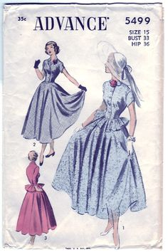 Vintage 1950 Advance 5499 Sewing Pattern Junior's, Misses' One-Piece Dress Size 15 Bust 33