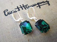 Emerald Earrings Vintage Emerald Jewelry Emerald by CRystalCRush
