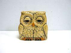vintage ceramic painted OWL envelop letter by dirtybirdiesvintage, $15.00