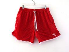 Vintage 80s UMBRO soccer shorts red white nylon