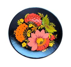 Vintage Wood Plate, Tole Painted Floral Wooden Dish