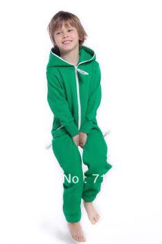 Kids child's children's all in one piece jumpsuit zip hoody fleece onesies onzie onsie playsuit tracksuit by Nordic Way-in Clothing Sets fro...