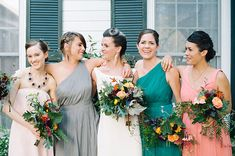 Bridesmaids in mix and match, I know this is not in the same color as you want, but the dresses are close, just giving an idea