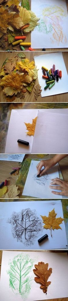 DIY Leaf Drawings Pictures. I like the one where black crayon is used. Would love to follow that with watercolors.