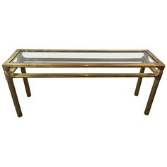 Mastercraft Brass and Glass Console | From a unique collection of antique and modern console tables at https://www.1stdibs.com/furniture/tables/console-tables/...this would be an excellent desk...