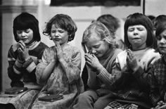 Philip Jones Griffiths  GB. ENGLAND. Middlesbrough. School prayers. 1976.