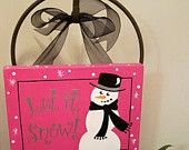 Fancy Snowman Winter Christmas Canvas Sign. $30.00, via Etsy.