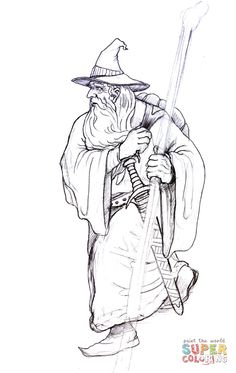 Gandalf On His Way Coloring Page From Lord Of The Rings Category Select 25935 Printable Crafts Cartoons Nature Animals Bible And Many More