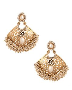 Gold Plated Statement Earrings Embellished With Cz, Pearls