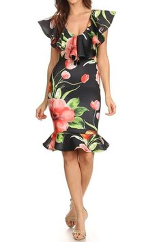 579ed7656a5 Floral Print Ruffle Off Shoulder Midi Dress