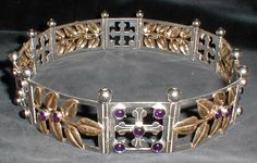 Baronial Coronet #6 (Meridies) - Front View of the Coronet Sterling silver, brass, amethyst