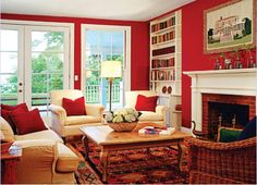 Red Living Room Paint  Ideas, I want to do something similar to my living room!