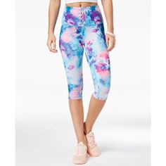 Material Girl Active Juniors' Lace-Up Cropped Leggings, Created for... ($13) ❤ liked on Polyvore featuring activewear, activewear pants, cotton candy, material girl activewear and material girl