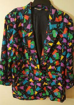VTG 80s Perlita 100% Silk Jacket Coat Geometrical Retro Hipster Nu Rave Large L #Perlita