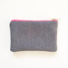 Ecofriendly zip purse Navy Organic Hemp and purse by ElizaElizaUK