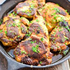 The perfect quick weeknight dinner, these crispy chicken thighs are marinated in buttermilk and tossed in a delicious spice mixture! | www.cookingandbeer.com