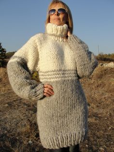 Hand knitted to ORDER Wool sweater T-NECK Chunky Thick | Dukyana ...