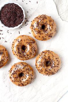 Vegan Baked Orange Donuts with Salted Caramel Glaze
