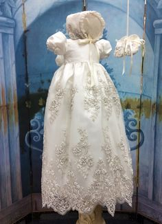 Channel//Silk and Lace Christening Gown and Bonnet# Victorian Gown//Royal Christening Gown//Baptism Gown//Couture Lace Gown//by Elena Lace Christening Gowns, Christening Outfit, Baptism Dress, Baptism Outfit, Baby Blessing Dress, Victorian Gown, Cheap Gowns, Baby Girl Christening, Baby Gown