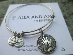 Alex and Ani HAND IN HAND Love Mother Charm Bangle Bracelet R Silver New #AlexandAni #Adjustable