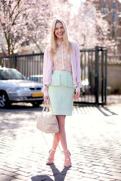 I wore an outfit very similar in my late teens early 20's. I had a mint pencil skirt, heels, light mauve tank, and a dusty pink jacket/cardi