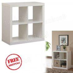 White-Square-Organizer-4-Cube-Wood-Storage-Bookcase-Shelf-Home-Indoor