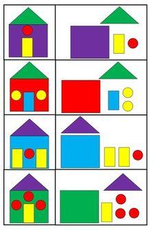 Kindergarten is a joy for children! Preschool Learning Activities, Infant Activities, Preschool Activities, Educational Activities, Art For Kids, Crafts For Kids, Puzzles For Toddlers, Shapes, Barn