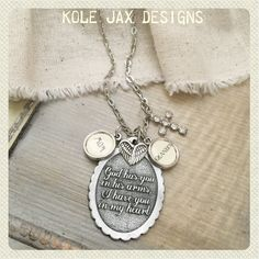 God has you in his arms, I have you in my heart necklace optional cream personalized bauble charm- comes with cross and angel wings charms