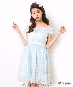 New Japan Secret Honey Ariel Mermaid Tulle Sea Blue Off the Shoulder Dress #SecretHoney