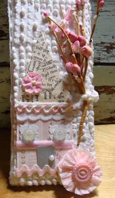 White Chenille and Pink Trim Shabby Chic