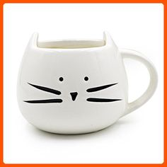 Teagas Novelty Cat Face Mug 12 Oz for Coffee Tea - White Kitty Hilarious Coffee Mug, Lucky Fathers Day Gift for Crazy Cat Lady - Fun stuff and gift ideas (*Amazon Partner-Link)