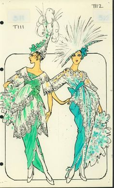 'Pier' Costume designed by Pete Menefee for Titanic scene in Jubilee! Theatre Costumes, Movie Costumes, Edwardian Fashion, Vintage Fashion, Drag Clothing, Costume Design Sketch, Showgirl Costume, Hollywood Costume, Bob Mackie