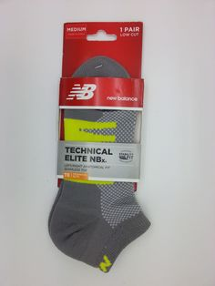 NEW BALANCE TECHNICAL ELITE NBx LOW CUT GREY/NEON SOCKS 1 PAIR (MEDIUM) -- NEW #NEWBALANCE #Athletic