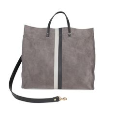 fc67d3721f grey_suede_with_black_and_white_stripes_simple_tote_by_clare_vA year-round  classic, the Clare V. Simple Tote in cognac suede features black and white  ...
