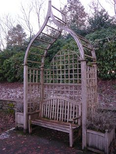 trellis arch with bench - I want this....with honeysuckle or hummingbird vines
