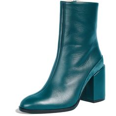 Dear Frances Spirit Booties (€510) ❤ liked on Polyvore featuring shoes, boots, ankle booties, teal, side zip boots, leather sole boots, block-heel boots, real leather boots and side zipper boots
