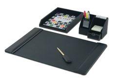 Leather 4-Piece Desk Set