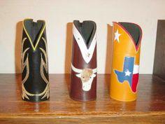 Cowboy  boot beer koozies Texas leatherworks