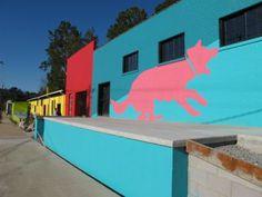 Asheville River Arts District. (RAD).   Pink dog Creative on Depot Street.