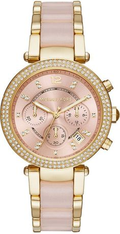 Michael Kors Women's Chronograph Parker Gold-Tone Stainless Steel and Blush Acetate Bracelet Watch 39mm MK6326