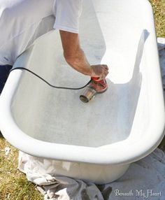 to Refinish an Antique Claw Foot Tub {Check out my New Tub refinishing a clawfoot tubrefinishing a clawfoot tub Clawfoot Tub Bathroom, Cast Iron Tub, Diy Home, Home Decor, Upstairs Bathrooms, Home Renovation, Retro Renovation, Diy Furniture, Furniture Refinishing