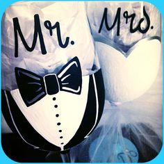 Bride & Groom Wedding Wine Glasses Hand by WattsGoodArtistry