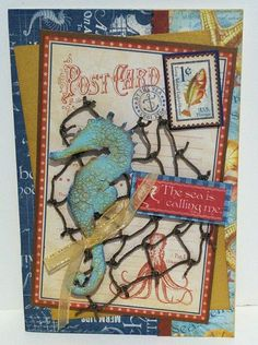 """Graphic 45  """"By the Sea""""  Card with Tim Holtz Seahorse, from my July card class. www.artfulelegance.blogspot.com"""