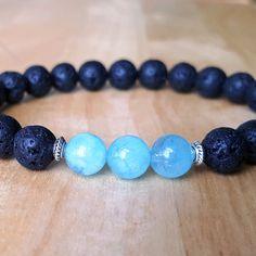 Bracelets aigue-marine lave, guérison Pierre bracelets, bracelets de Protection, bracelets de Yoga, méditation Bracelets, bracelets de protection, cadeaux B115