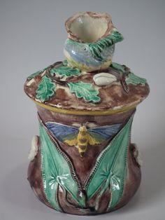 Majolica Palissy tobacco jar and cover | ID#19755 | Madelena