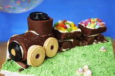 No-bake train cake is SO easy to assemble from shopbought cakes and biscuits, but so worth the effort to make this impressive cake. Taming Twins blogger Sarah Barnes uses readymade cake and biscuits, which is perfect if you're looking for a quick and simple cake idea for your littles one's birthday. The train is made from chocolate Swiss roll and Mini Rolls with Jammie Dodger wheels and sweetie cargo. Your child's face will light up when they see this delicious train cake in all its glory…