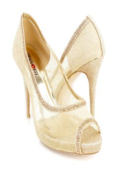 Doll up any outfit with these adorable pump heels! The features include a mesh fabric upper with rhinestone trim, glitter throughout, peep toe, scoop vamp, smooth lining, and cushioned footbed. Approximately 5 inch heels and 1 inch platforms.