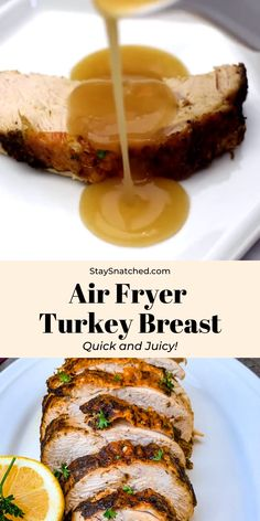 Easy Air Fryer Turkey Breast is a quick recipe that uses a 3 to 4 pound (lb), bone-in or boneless breast. This air fried dish includes a tutorial for how to cook, how long to cook, and the perfect temperature. Air Fryer Oven Recipes, Air Frier Recipes, Air Fryer Dinner Recipes, Air Fryer Rotisserie Recipes, Air Fryer Turkey Recipes, Turkey Fryer, Air Fryer Turkey Breast Recipe, Boneless Turkey Breast Recipe, Sliced Turkey Breast Recipe